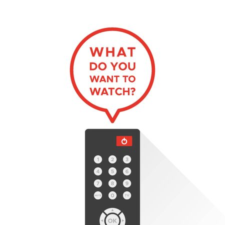 TV remote control with long shadow. Speech bubble with the text: