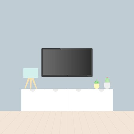 Smart TV in the living room. Tv stand, gray wall, wooden floor, plants and table lamp. Vector illustration, flat design