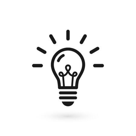 Czarna żarówka świecąca ikona. Na białym tle lampa elektryczna na białym tle z włókna i abstrakcyjne promienie. Ilustracja wektorowa, płaska konstrukcja