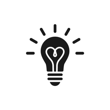 Black light bulb glowing icon. Isolated electric lamp on white background. Heart filament. Vector illustration, flat design