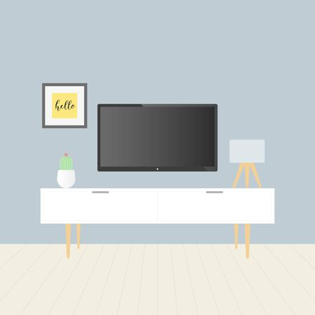 Smart TV in the living room. Tv stand, gray wall, wooden floor, cactus, picture and table lamp. Vector illustration, flat design