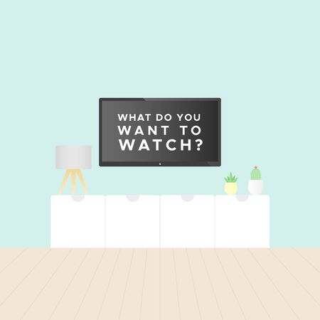 Smart TV in the living room. Tv stand, light blue wall, wooden floor, plants and table lamp. Television text: 'What do you want to watch?'. Vector illustration, flat design Ilustração