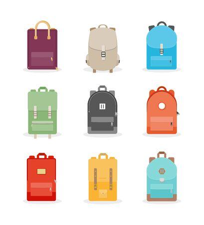 Backpack set. Colorful back packs for school, travel, tourism and sport. Vector illustration, flat design