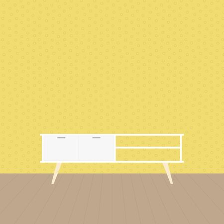 Nordic tv stand in modern empty room. Empty clean wall and wooden floor. Minimal living room. Home interior. Vector illustration, flat design