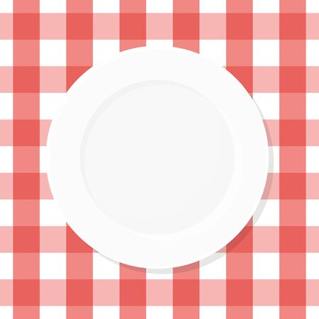 White empty plate on red checkered tablecloth. Top view. Vector illustration, flat design Фото со стока - 129308281