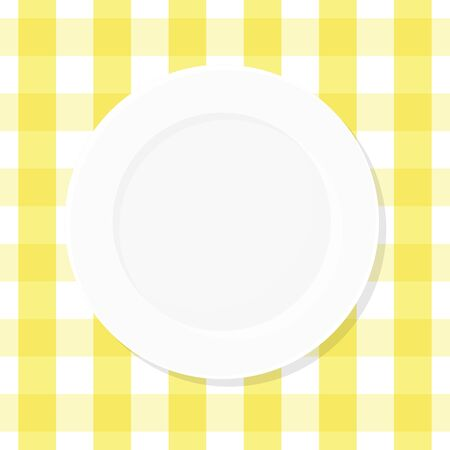 White empty plate on yellow checkered tablecloth. Top view. Vector illustration, flat design