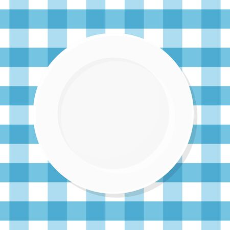 White empty plate on blue checkered tablecloth. Top view. Vector illustration, flat design Иллюстрация