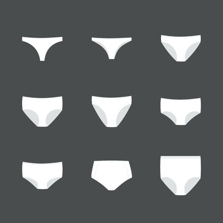 Panties icon set. Woman underwear types: thong, brazilian, bikini, classic brief, high cut brief, hipster, shortie, control brief and shapewear. Vector illustration, flat design