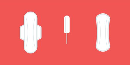 Feminine hygiene products. Sanitary napkins and tampon. Red background. Vector illustration, flat design