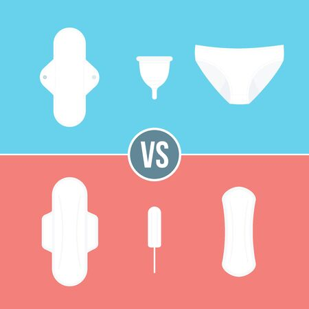 Feminine hygiene products. Classic products vs sustainable products. Sanitary pad, napkin, tampon, cloth menstrual pad, period panties and menstrual cup. Vector illustration, flat design