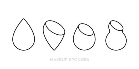 Makeup sponges. Icon set: several types of sponges. Vector illustration, flat design Çizim