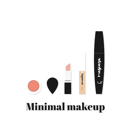 Minimal makeup. Composition with basic beauty products: lipstick, concealer, blush, sponge and mascara. Vector illustration, flat design