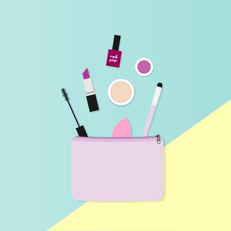Makeup bag with beauty products. Makeup case with colorful background. Vector illustration, flat design 일러스트