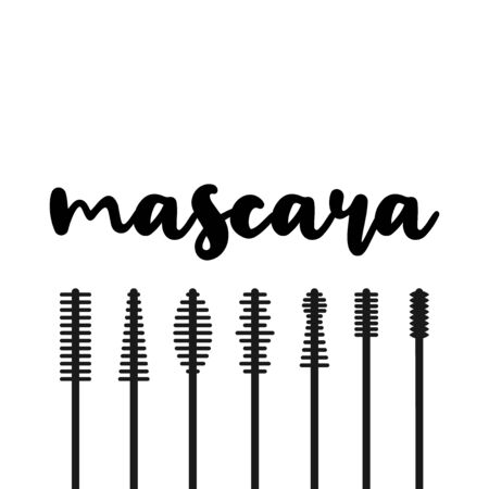 Black mascara applicator. Types of mascara. Vector illustration, flat design Иллюстрация