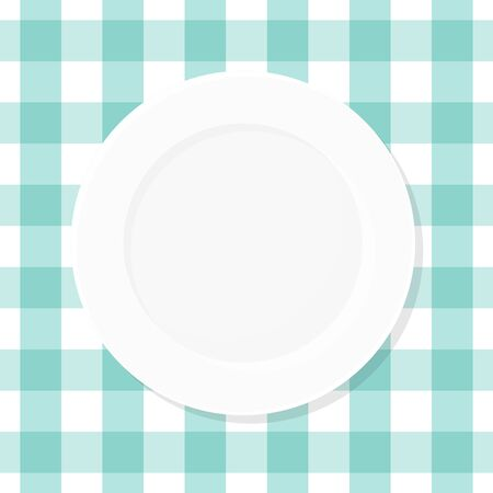 White empty plate on blue checkered tablecloth. Top view. Vector illustration, flat design Illustration