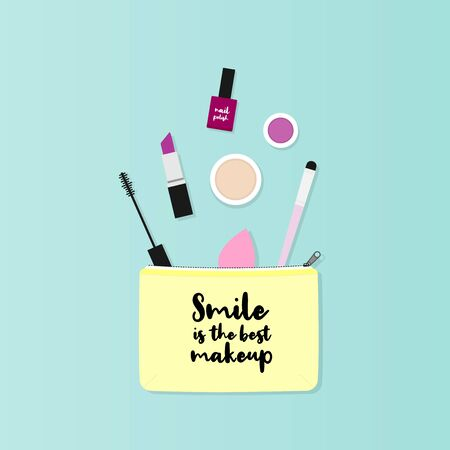 Makeup bag with beauty products. Makeup case with the phrase: Smile is the best makeup. Vector illustration, flat design