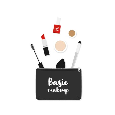 Makeup bag with beauty products. Makeup case with the phrase: Basic makeup. Vector illustration, flat design 일러스트
