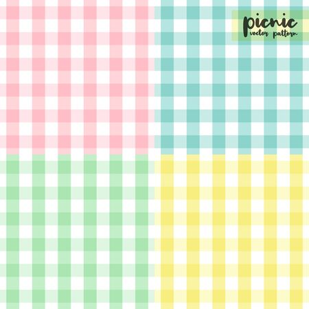 Picnic tablecloth seamless pattern. Gingham pattern set. Geometric checkered background. Vector illustration, flat design