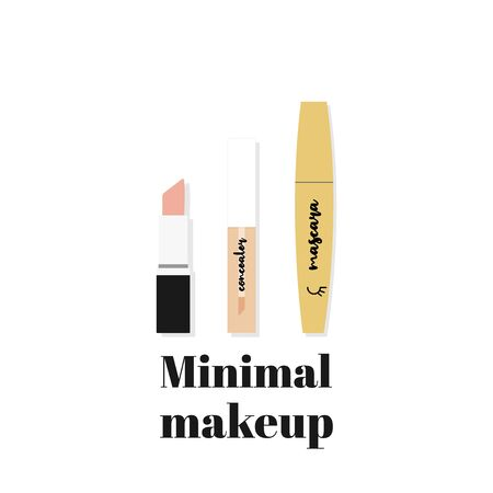 Minimal makeup. Composition with basic beauty products: lipstick, concealer and mascara. Vector illustration, flat design 일러스트