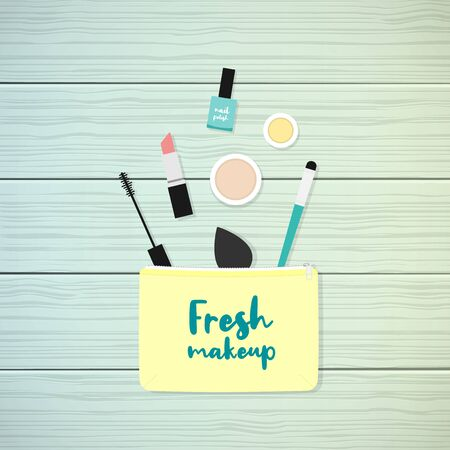 Makeup bag with beauty products. Makeup case with the phrase: Fresh makeup. Wooden background. Vector illustration, flat design