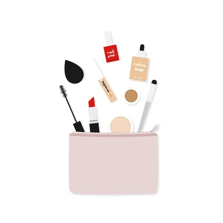 Makeup bag with beauty products. Makeup case with basic makeup. Vector illustration, flat design