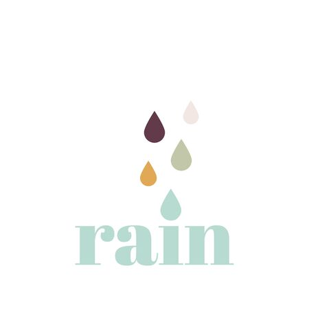 Typographic composition with the word rain. Vector illustration, flat design Illustration