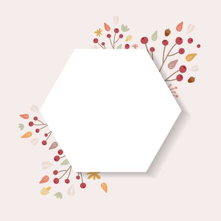 Autumn background. Hand drawn elements frame with autumnal colors on cream background. Fruits, seeds, flowers, leaves, mushrooms, branch, acorns around a hexagon. Vector illustration, flat design