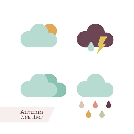 Autumn weather icons. Vector illustration, flat design