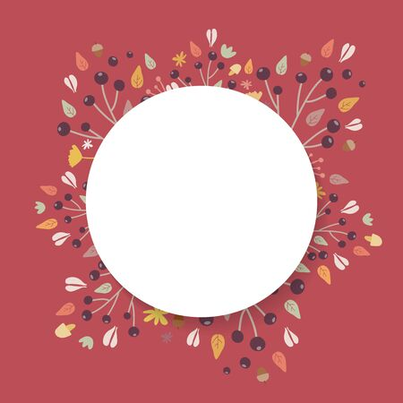 Autumn background. Hand drawn elements frame with autumnal colors on dark red background. Fruits, seeds, flowers, leaves, mushrooms, branch, acorns around a circle. Vector illustration, flat design Ilustrace