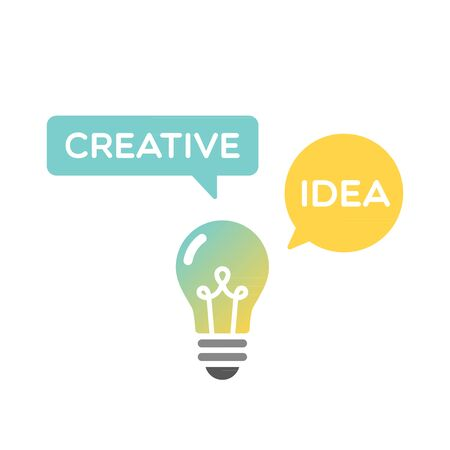 Light bulb creative idea. Vector illustration, flat design