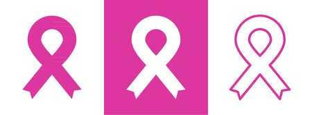 Pink ribbon. Breast cancer awareness. Three styles. Vector illustration, flat design Archivio Fotografico - 131307438