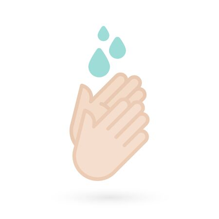 Hand washing icon. Hands with water drops symbol. Prevention against viruses, bacteria, flu, coronavirus. Concept of hygiene, cleanliness, disinfection. Vector illustration, flat design