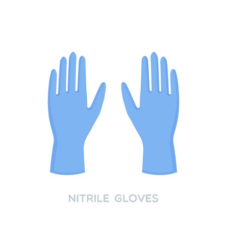 Blue nitrile medical gloves. Personal protective equipment. Prevention against viruses, bacteria, flu, coronavirus. Concept of hygiene, protection. Vector illustration, flat design Illustration