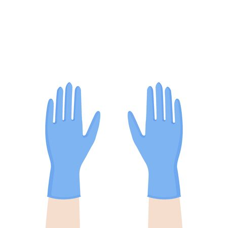 Hands up with blue nitrile medical gloves. Personal protective equipment. Prevention against viruses, bacteria, flu, coronavirus. Concept of hygiene, protection. Vector illustration, flat design