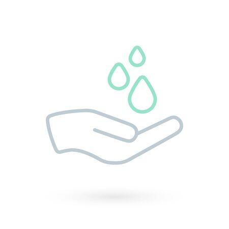 Hand washing icon. Hand with water symbol. Prevention against viruses, bacteria, flu, coronavirus. Concept of hygiene, cleanliness, disinfection. Vector illustration, flat design Illustration