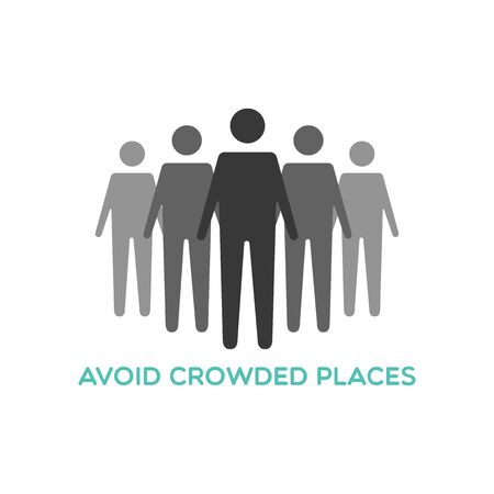 Avoid crowded places. Social distance icon. Coronavirus pandemic prevention. Vector illustration, flat design