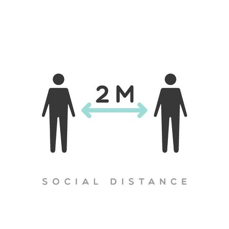 Social distance icon. Coronavirus pandemic prevention. Keep two meters away. Vector illustration, flat design