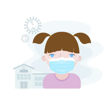 Girl child wearing facial mask in front of the school building. Concept of back to school in the new normal in times of the coronavirus pandemic. Covid-19 symbol. Vector illustration, flat design