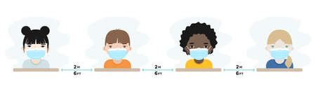 Children wearing protective mask. Physical distance between children as prevention against coronavirus. Back to school in the new normal. Vector illustration, flat design