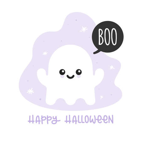 """Little ghost saying """"Boo"""" .Cute character. Happy Halloween lettering. Vector illustration, flat design"""
