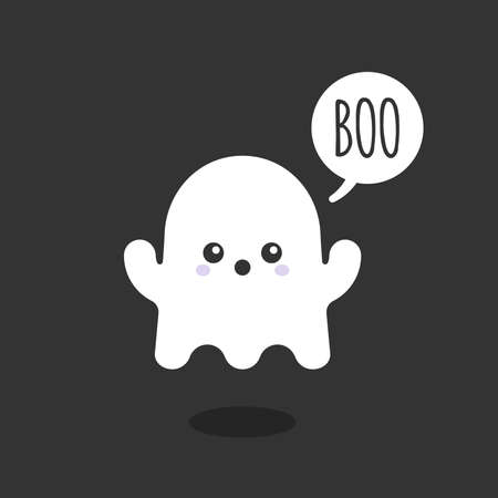 """Little ghost saying """"Boo"""" .Cute character. Happy Halloween. Vector illustration, flat design"""