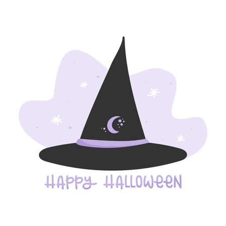 Magical witch hat. Happy Halloween. Vector illustration, flat design