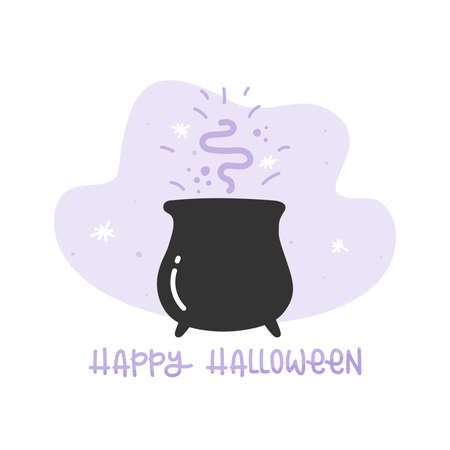Bubbling cauldron with magical potion. Happy Halloween. Vector illustration, flat design