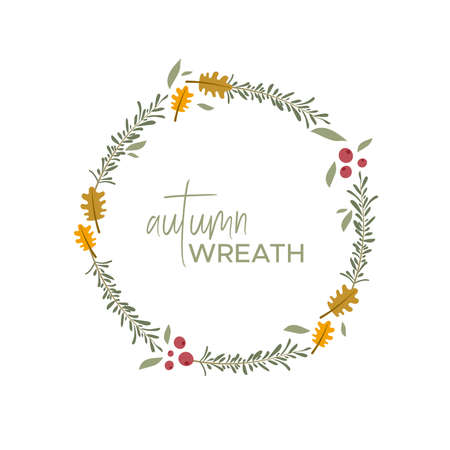Autumn wreath. Autumn leaves, branches and berries. Warm colors. Vector illustration, flat design