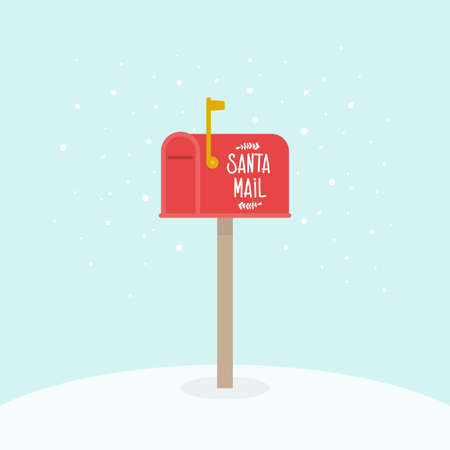 Outdoor Christmas mailbox. Santa Claus mail. Raised mailbox flag. Vector illustration, flat design