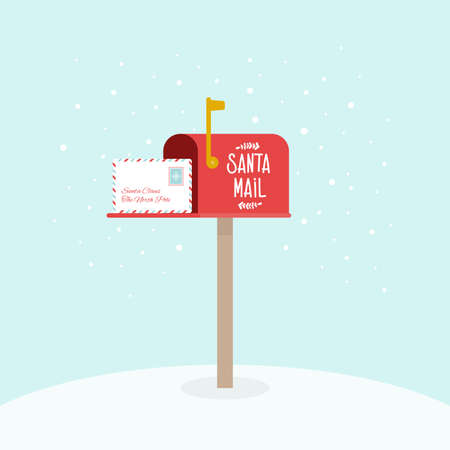 Opened outdoor Christmas mailbox with letters. Santa Claus mail. Raised mailbox flag. Vector illustration, flat design Çizim
