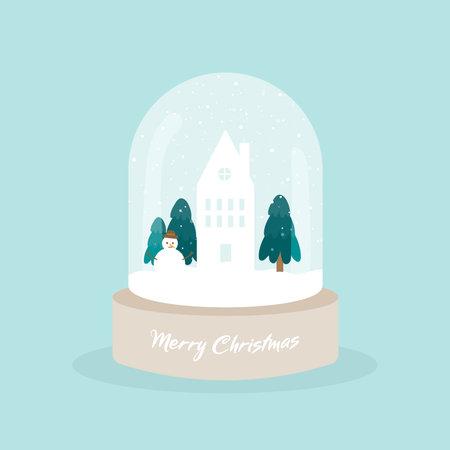 Snow globe with Christmas village. Merry Christmas. Wooden base. Glass ball jar decoration. Vector illustration, flat design