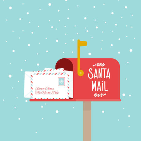 Opened outdoor Christmas mailbox full of letters. Santa Claus mail. Snowing. Raised mailbox flag. Vector illustration, flat design Çizim