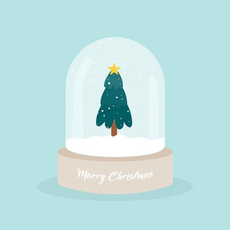 Snow globe with Christmas tree. Merry Christmas. Wooden base. Glass ball jar decoration. Vector illustration, flat design