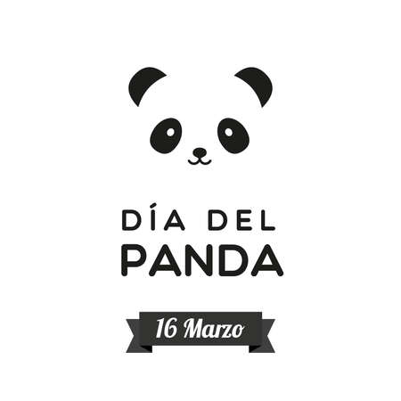 Panda Day. March 16. Spanish. Panda Day. March 16. Bear panda face icon. Black and white. Vector illustration, flat design